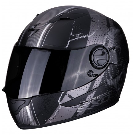 Casco integrale moto Scorpion Exo-490 Dar nero opaco argento matt black silver helmet casque