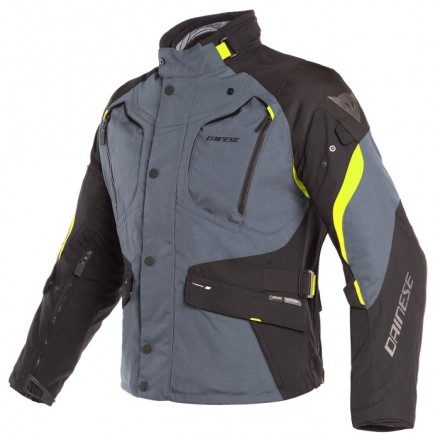 Giacca moto touring adventure 4 stagioni Dainese Dolomiti Goretex Grigio nero giallo Ebony Black Fluo yellow 4 seasons jacket