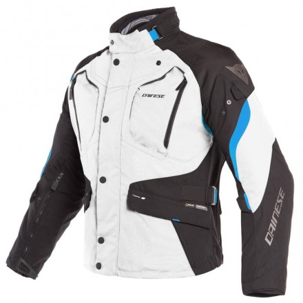 Giacca moto touring adventure 4 stagioni Dainese Dolomiti Goretex light gray black electron blue 4 seasons jacket