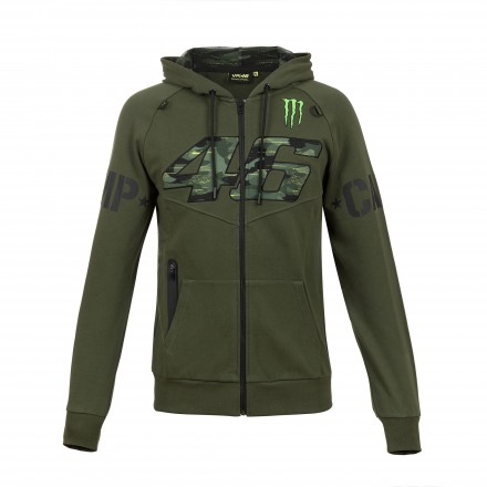 Felpa Vr46 Valentino Rossi Monster Energy Camp verde militare military green moto gp hoodie sweatshirt