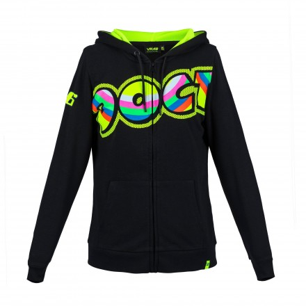 Felpa donna Vr46 Valentino Rossi The Doctor 46 VRWFL307504 nero black lady woman hoodie sweatshirt