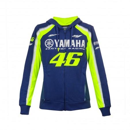 Felpa donna Vr46 Valentino Rossi Yamaha YDWFL314509 blu blue lady woman hoodie sweatshirt