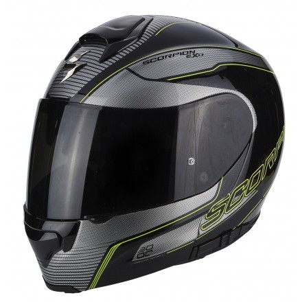 Casco modulare moto fibra Scorpion Exo-3000 Stroll nero opaco grigio giallo matt black silver yellow flip up helmet casque
