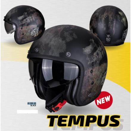 Casco jet moto vintage scrambler retro cafe racer custom Scorpion Belfast Tempus nero black helmet casque