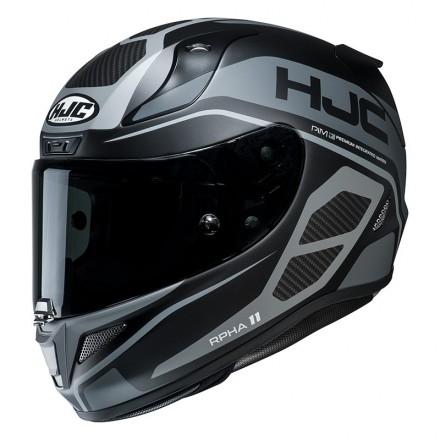 Casco integrale fibra moto racing pista corsa sport Hjc Rpha 11 Saravo MC5sf nero grigio black grey Helmet casque