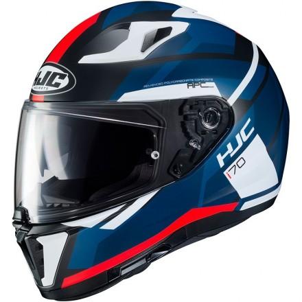 Casco integrale moto doppia visiera Hjc i70 Elim MC1sf nero blu bianco rosso black blue white red Helmet casque