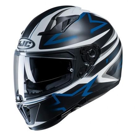 Casco integrale moto doppia visiera Hjc i70 Cravia MC2sf bianco nero blu white black blue Helmet casque