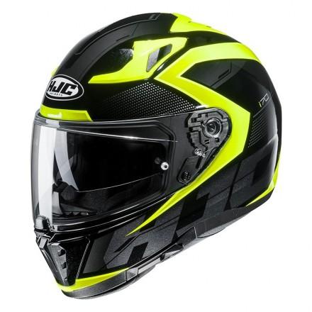 Casco integrale moto doppia visiera Hjc i70 Asto MC4h nero giallo fluo black yellow Helmet casque