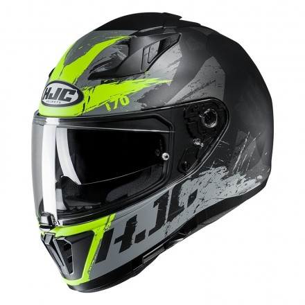 Casco integrale moto doppia visiera Hjc i70 Rias MC4hsf nero giallo fluo black yellow Helmet casque