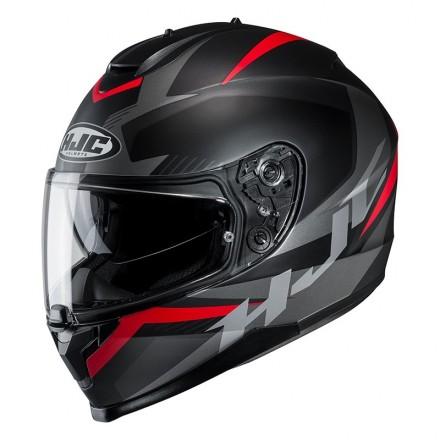 Casco integrale moto doppia visiera Hjc C70 Troky Mc1sf nero rosso black red Helmet casque