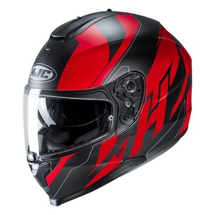 Casco integrale moto doppia visiera Hjc C70 Boltas Mc1sf nero rosso black red Helmet casque