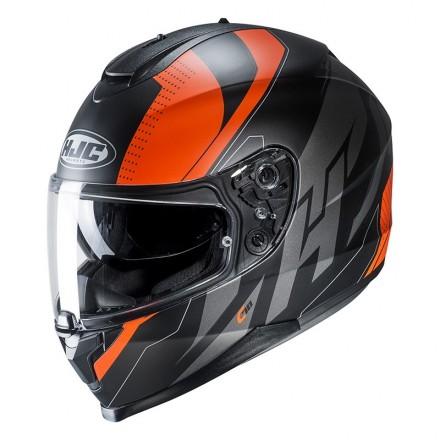 Casco integrale moto doppia visiera Hjc C70 Boltas Mc7sf nero arancione black orange Helmet casque