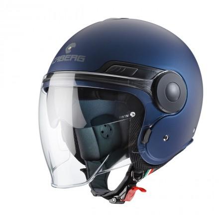 Casco jet moto scooter visiera lunga e occhiale parasole Caberg Uptown blu opaco matt blue yamaha helmet casque