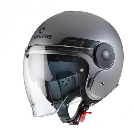 Casco jet moto scooter visiera lunga e occhiale parasole Caberg Uptown antracite opaco matt gun metal helmet casque