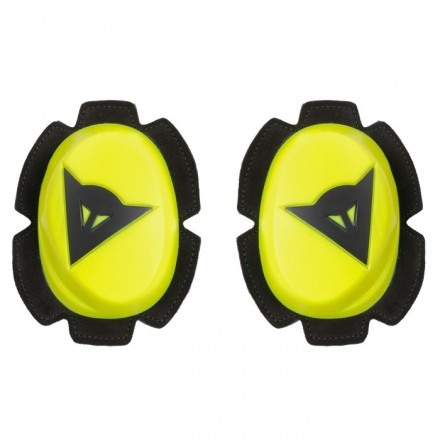 Saponette Dainese Pista Knee Slider Giallo yellow Fluo Nero tuta pelle racing suit