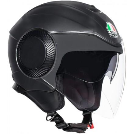Casco jet aperto moto scooter Agv Orbyt nero opaco matt black helmet casque