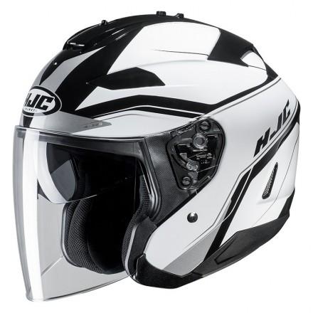 Casco Jet visiera lunga e visierino da sole Hjc Is-33 2 Korba MC10 bianco nero white black  helmet casque