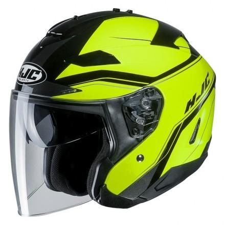 Casco Jet visiera lunga e visierino da sole Hjc Is-33 2 Korba MC4h nero giallo fluo black  yellow helmet casque