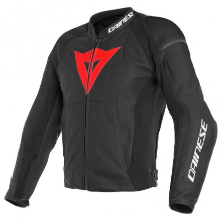 Giacca pelle moto Dainese Nexus nero rosso black lava red D52 leather jacket