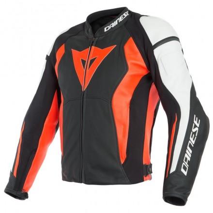Giacca pelle moto Dainese Nexus nero rosso bianco black fluo red white W12 leather jacket