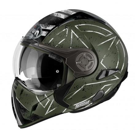 Casco integrale modulare jet mentoniera estraibilie Airoh J106 Command verde opaco green matt helmet casque
