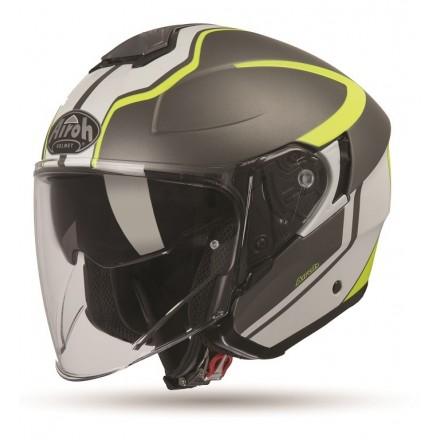 Casco jet moto visiera lunga Airoh Hunter Soul antracite opaco matt helmet casque