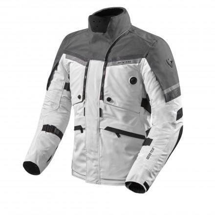 Giacca moto touring adventure triplo strato Rev'it Poseidon 2 Goretex GTX Grigio chiaro antracite silver 3 layers jacket