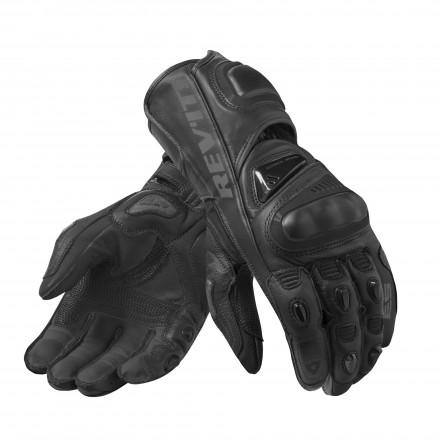 Guanti pelle canguro moto racing pista corsa Rev'It Jerez 3 Nero black leather gloves