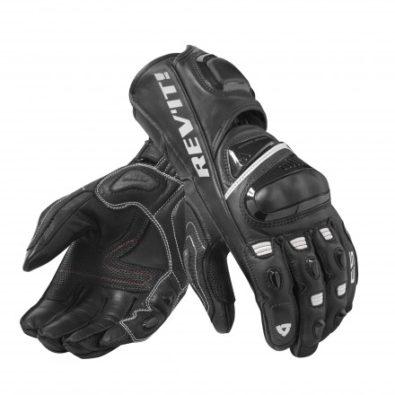 Guanti pelle canguro moto racing pista corsa Rev'It Jerez 3 Nero bianco black white leather gloves