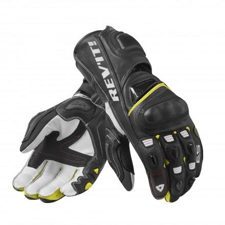 Guanti pelle canguro moto racing pista corsa Rev'It Jerez 3 Nero giallo black yellow leather gloves