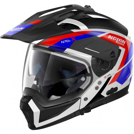 Casco crossover jet integrale modulare moto N70-2 X Grand Alpes 26 bianco rosso blu white red blue N-com helmet casque