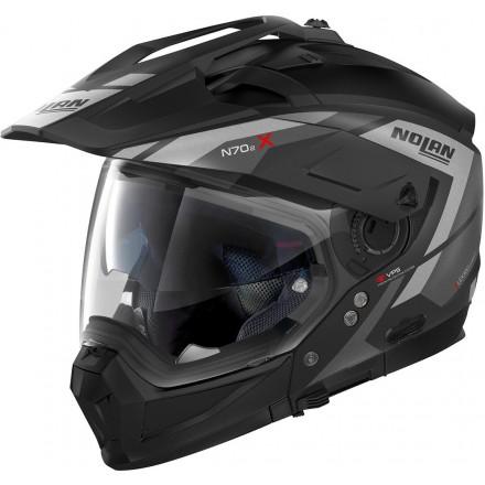 Casco crossover jet integrale modulare moto N70-2 X Grand Alpes 21 nero opaco grigio Flat black grey N-com helmet casque