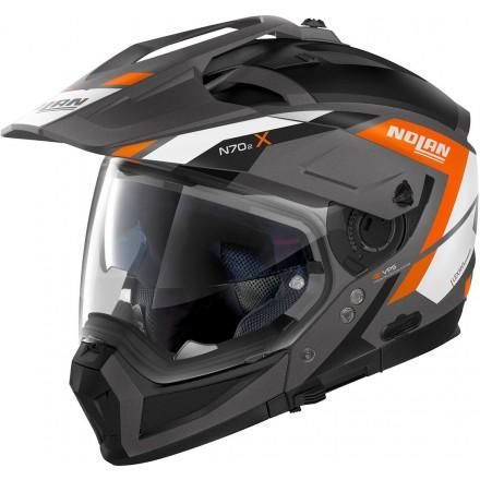 Casco crossover jet integrale modulare moto N70-2 X Grand Alpes 24 grigio lava arancione orange N-com helmet casque