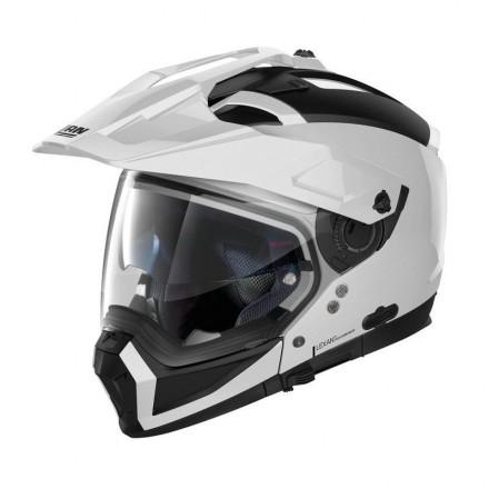 Casco crossover jet integrale modulare moto N70-2 X Classic 5 bianco metal white N-com helmet casque