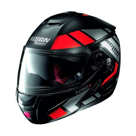 Casco modulare apribile moto Nolan N90.2 Euclid nero opaco rosso flat black red 25 Ncom flip up helmet