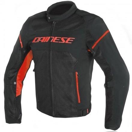 Giacca moto tessuto traforata estiva sfoderabile Dainese Air frame D1 Tex black red fluo P75 jacket