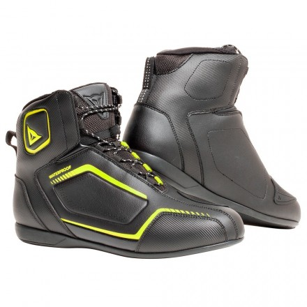 Scarpe moto impermeabili Dainese Raptors D-Wp nero giallo black yellow fluo waterproof shoes