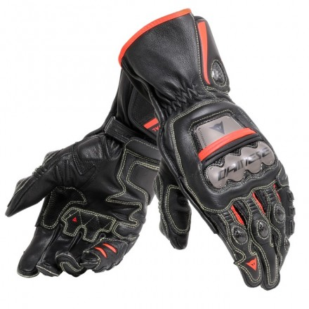 Guanti moto racing pista corsa Dainese Full metal 6 nero rosso black fluo red gloves