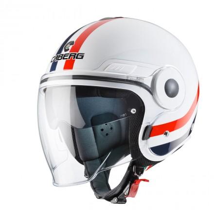 Casco jet moto scooter visiera lunga e occhiale parasole Caberg Uptown Chrone bianco rosso blu white red blue helmet casque