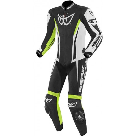 Tuta intera pelle moto racing pista Berik Monza nero bianco giallo black white yellow fluo one piece leather suit
