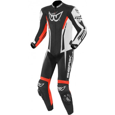 Tuta intera pelle moto racing pista Berik Monza nero bianco rosso black white red one piece leather suit