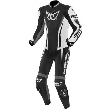 Tuta intera pelle moto racing pista Berik Monza nero bianco grigio black white grey one piece leather suit