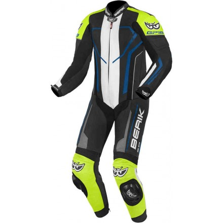 Tuta intera pelle moto racing pista Berik Imola nero bianco blu giallo black white blue yellow one piece leather suit