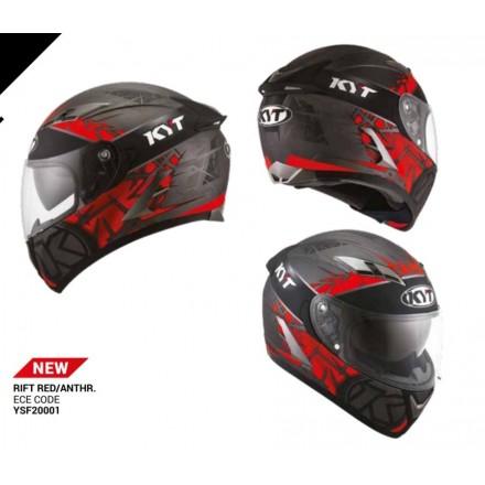 Casco integrale moto KYT Falcon 2 Rift Rosso Red Antracite helmet casque