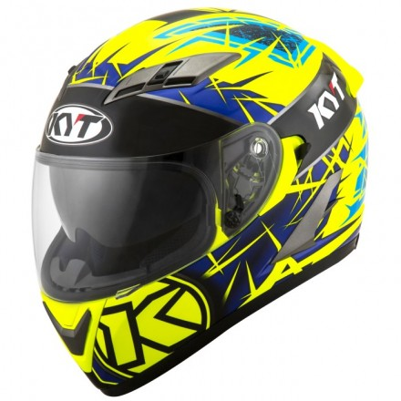 Casco integrale moto KYT Falcon 2 Rift Giallo Blu Yellow Blue helmet casque