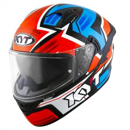 Casco integrale moto KYT NF-R Artkork rosso blu red blue helmet casque