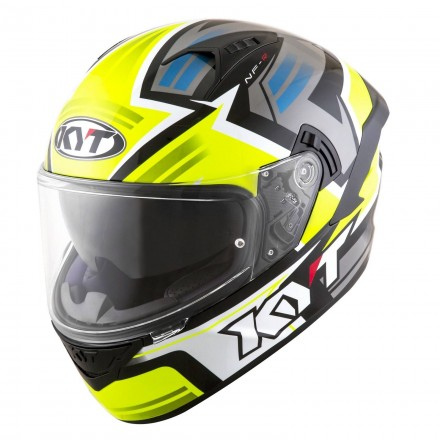 Casco integrale moto KYT NF-R Artkork giallo grigio yellow grey helmet casque