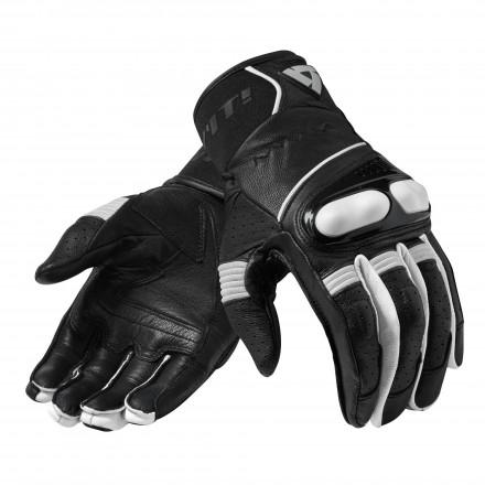 Guanti pelle moto Rev'it Hyperion nero bianco Black white leather gloves