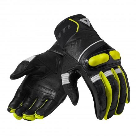 Guanti pelle moto Rev'it Hyperion nero giallo Black yellow leather gloves