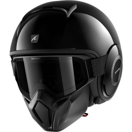 Casco vintage naked urban scrambler cafe racer Shark Street Drak nero lucido black helmet casque